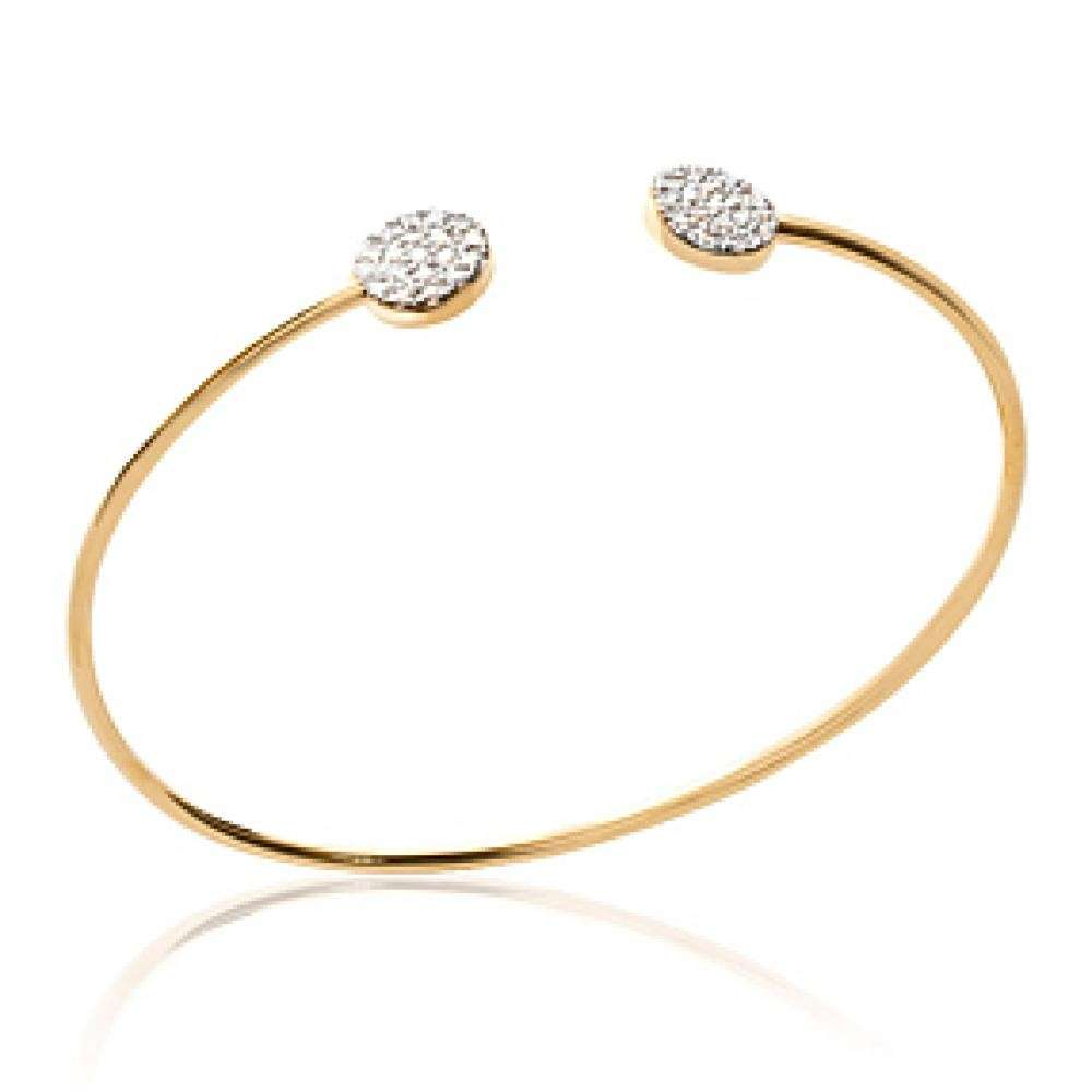 Armband Ouvert Cercles brillants Vergoldet 18k - Zirconium - 56mm