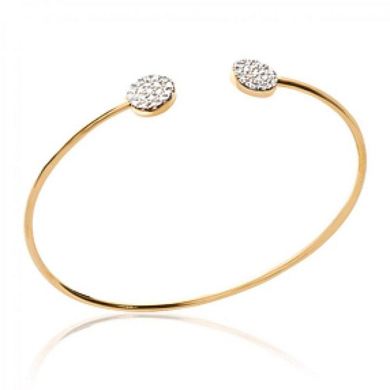 Bangle Ouvert Cercles brillants Gold plated 18k - Zirconium - 56mm