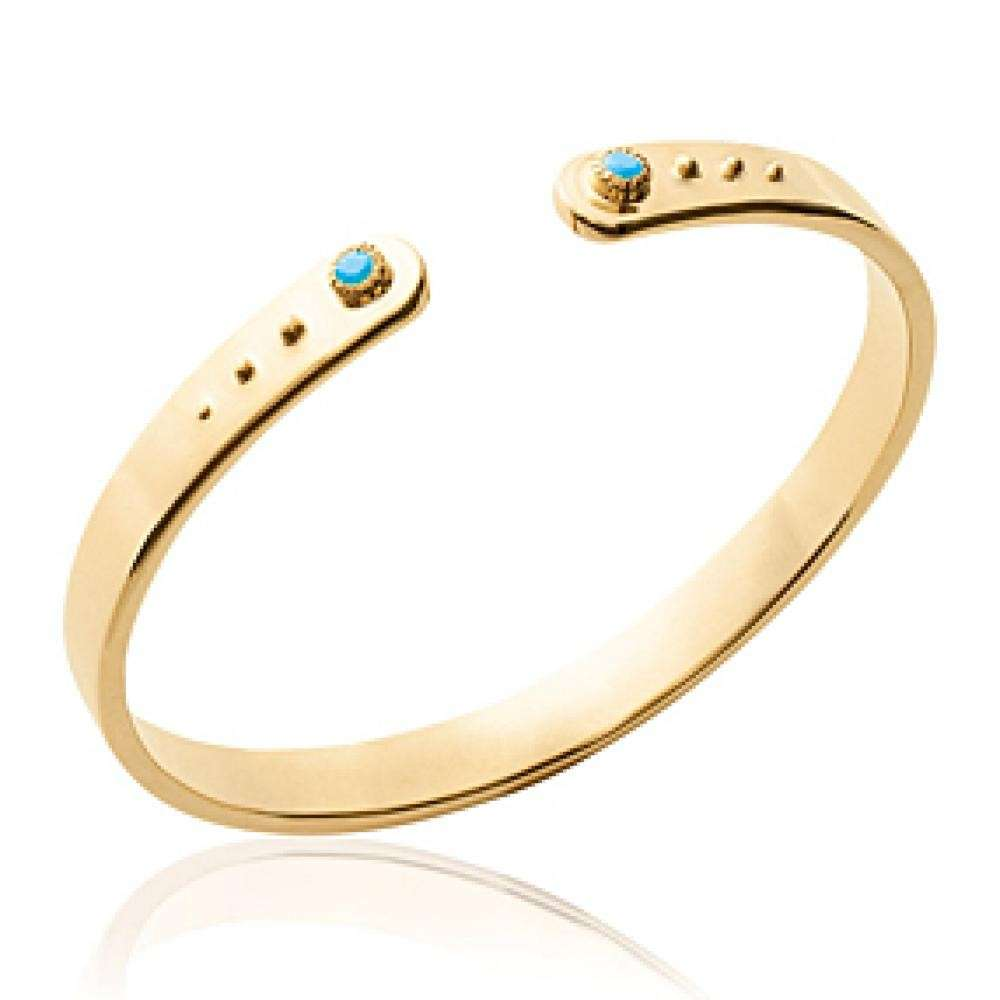 Bangle Plat Gold plated 18k - Pierres Bleues Turquoises - 56mm