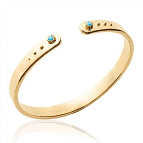 Bracciale Bangle Plat Placcato in oro 18k - Pierres d'imitation Bleues Turquoises - 56mm