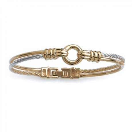 Bracciale Bangle marin Bicolore Corde tressé Placcato in oro 18k - Fermoir - 58mm