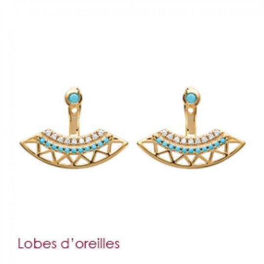 Boucles d'oreilles sous lobes Couronne Aztèque pierre d'imitation Bleue turquoise Plaqué Or