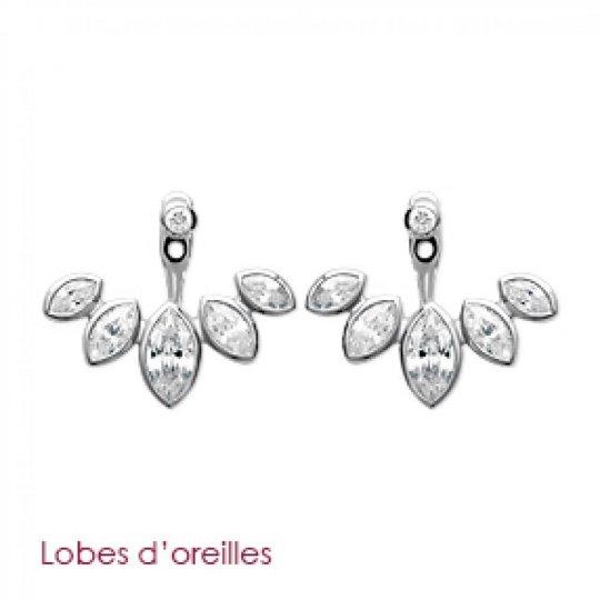 Earrings Feuilles Petalled Contours de lobes Argent Rhodié
