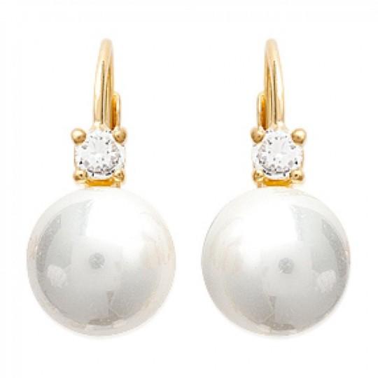 Dormeuses Pearls White d'imitation 16mm Gold plated 18k