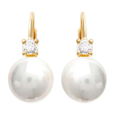 Dormeuses Perles Blanches Luxe Plaqué Or - Femme