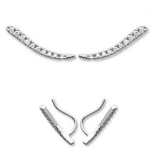 Earrings Lignes Grimpantes Argent Rhodié - Zirconium