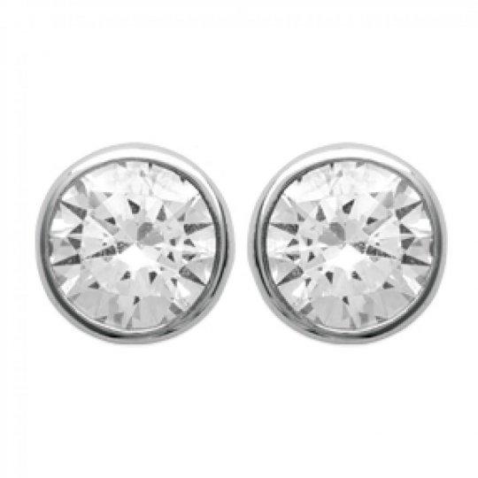 Earrings puces Cubic Zirconia 7mm sertis clos Argent